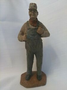 Railroad Man With Pipe Wooden Carved Figurefred Curtis