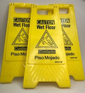 Lot Of 3 Impact Products English spanish Wet Floor Sign Caution Wet Floor Used