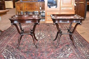 Pair Of Antique Large Mahogany Leather Top Tables Vintage Furniture