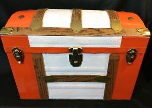Vintage Ooak Unusual Size Tin Covered Steamer Domed Chest Box Trunk 70 S Signed