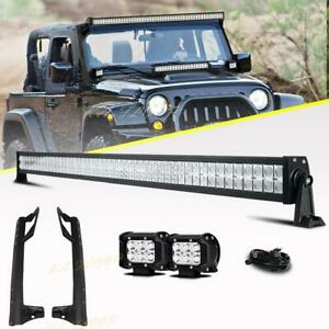 For 07 18 Jeep Jk Wrangler 52 Led Light Bar Wiring Kit Windshield Mount Bracket