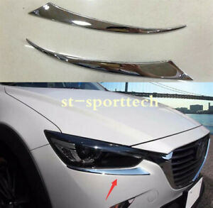 For Mazda Cx 3 2016 2018 Abs Chrome Front Headlight Eyebrows Eyelids Trim 2pcs