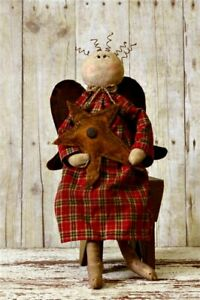 Primitive Country Sitting Angel Doll Holding Rustic Star Wire Hair 18