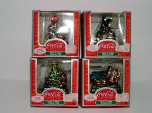 (4) COCA-COLA BRAND FIGURAL CHRISTMAS ORNAMENTS - CHROME PLATED PORCELAIN NEW!