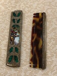 Antique Art Nouveau Sterling Silver Comb Victorian Porcelain Inlay Scroll