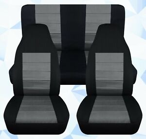 Front rear Car Seat Covers Black charcoal Fits Jeep Cherokee Sport 97 01