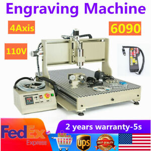 110v 4axis 6090 Router Engraver Engraving Machine 3d Woodworking Cutter