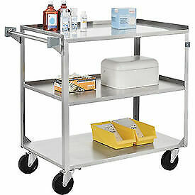 Stainless Steel Utility Cart 30 3 4 X 18 3 8 X 33 300 Lb Cap 1 Each