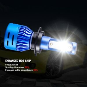 H4 Car Led Headlight Bulbs Cob 6500k White Hi Lo Beam Led Lights Blue Shell