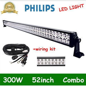 52inch 300w Led Light Bar Combo Driving Slim Fog Roof Lamp Boat free Wiring Kit
