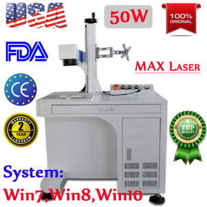 50w Desktop Fiber Laser Marker Marking Engraving Machine Rotary Axis Include