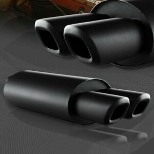 Universal 3 Remis Style Dual Square Tip Black T304 Exhaust Muffler 2 5 Inlet