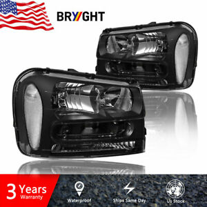 For 2002 2009 Chevy Trailblazer Black Housing Corner Headlight lamp Lh Rh