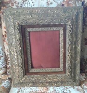 Antique Double Ornate Gesso Felt Picture Frame Early Eastlake Victorian 1880