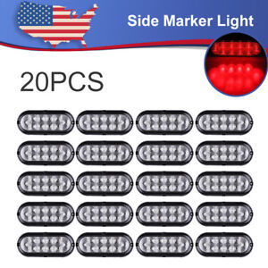 20x 12v 6 Oval Led Stop Tail Turn Truck Tractor Trailer Brake Light Red 10led