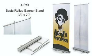 4 Retractable Roll Up Banner Stand display 33 X 79 4 pak Free Shipping