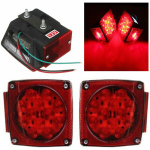 2x Led Submersible Square Lights Trailer Under 80 Tail Brake Boat Stud Mount Us