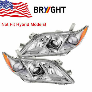 Headlights Assembly For 2007 2009 Toyota Camry Headlamps Replacement Pair Set