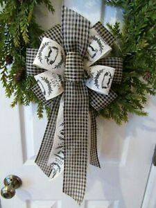 Country Farmhouse Animals Black Cream Wired Ribbon Bow For Wreath Pig Cow