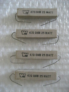 4 X Nos 470 Ohms Workman 25 Watt Power Resistor