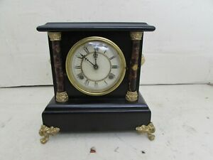 Antique Waterbury Clock Co Striking Mantle Clock Wood Case Gilt Metal Mounts