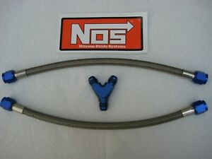 Dual Bottle Or Direct Port New Nos Nitrous Blue 6an Y Fitting 12 6 Line Kit