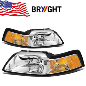 Fits 99 04 Ford Mustang Chrome Housing Amber Corner Headlights Replacement Lamps