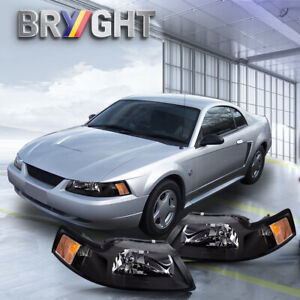 For 99 04 Ford Mustang Black Housing Amber Corner Headlights Replacement Lamps