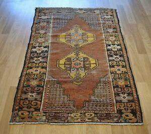 1940 S Antique Handmade Worn Out Anatolian Rug 4ft X 6ft Free Express Shipping