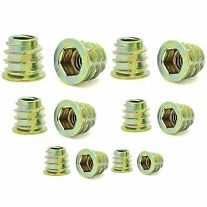 205 Qty Assorted Zinc Hex Flanged Threaded Inserts For Wood 6 Sizes bcp906