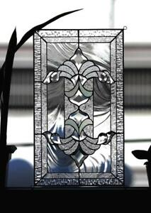 Tiffany Style Stained Glass Window Panel Rv Iridescent Beveled Victorian Swirls