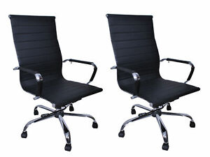 Set Of 2 Pu Leather Ergonomic Mid Back Office Chair Executive Computer Desk New