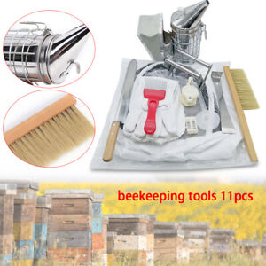 11pcs Kit Beekeeping Equipment Tool Bee Brush Scraper Fork Cage Queen Hive Knife