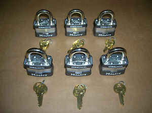 Lot Of 6 New Master Lock Padlocks 1ka Keyed Alike Same Key Opens All Locks