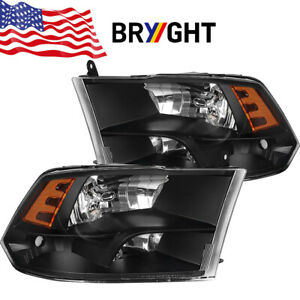 For 2009 2018 Dodge Ram 1500 2500 3500 Black Quad Headlights Assembly Left Right