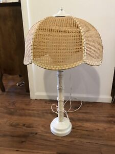 Vintage Lamp Metal And Wood Bamboo Base Wicker Cane Shade Midcentury