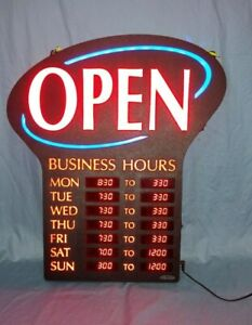 Newon Led Lighted Business Open Sign Electronic Programmable Business Hours 6093