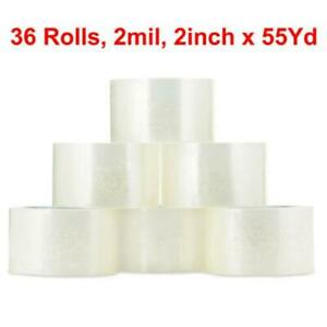 36 Rolls 2 X 55 Yards 165 Ft Box Carton Sealing Packing Package Tape Clear