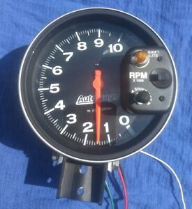 Autometer 5 Shift Lite Tach Tachometer 10k Rpm Hot Rod Drag Gasser