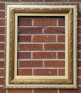 Vintage Mid Century Off White Gold Custom Made Picture Frame 16 X 20 In C1960s