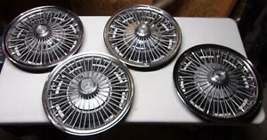 Vintage Chevy 14 Wire Spoked Hubcaps 3908762 1964 1969 Set Of 4