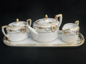 Atq Noritake Tea Set Teapot Creamer Sugar Bowl Tray Gold Encrusted Rare