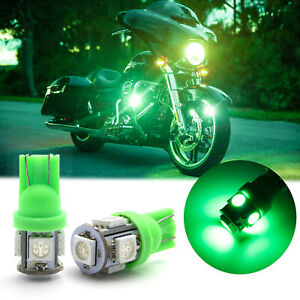 Super Bright Green T10 2825 Led Bulbs Motorcycle Position Parking City Lights
