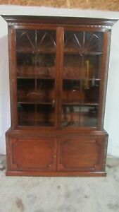 English China Cabinet Breakfront Bookcase Beautiful Mahogany Retail 10 000