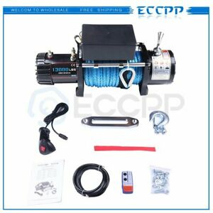 Eccpp 13000lb Electric Winch Synthetic Rope 12v Remote Control For Offroad Jeep