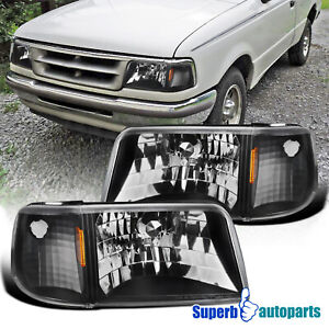 For 1993 1997 Ford Ranger Black 2in1 Style Headlights Corner Signal Lamps Pair