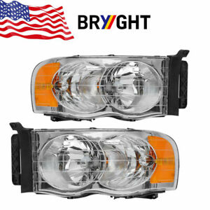 02 05 Dodge Ram 1500 2500 3500 Replacement Lamp Headlight Left right Side Pair