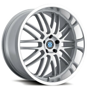 Staggered Beyern Mesh Front 17x8 Rear 17x8 5x120 Silver Wheels Rims