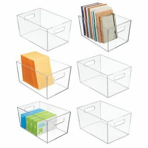 Mdesign Plastic Storage Bin With Handles For Office 12 Long 6 Pack Clear