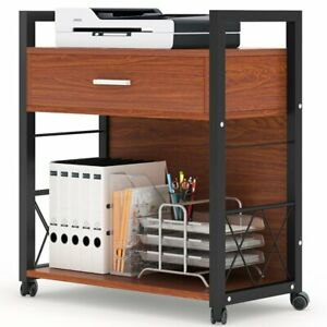 Multifunctional Home Office Machine Stand With Storage Shelf And File Drawer Us